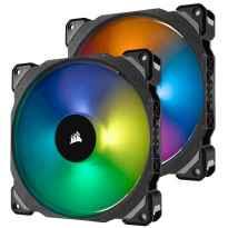 VENTILADOR CAJA ADICIONAL 14X14 CORSAIR ML140 PRO RGB LEV.MAGNETICA NEGRO PACK 2