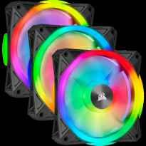 VENTILADOR CAJA ADICIONAL 12X12 CORSAIR QL120 RGB NEGRO PACK 3 UDS LIGTHING NODE