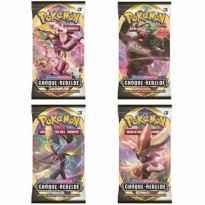 Caja de sobres de cartas nintendo pokemon espada y escudo choque rebelde 24 sobres