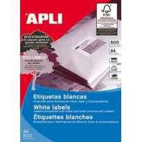 APLI ETIQUETAS BLANCO PARA IMPRESORA INKJET, LASER Y FOTOCOPIADORAS / 210 X 148MM / CANTOS RECTOS - 500 HOJAS-