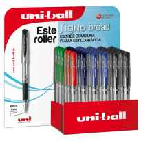 UNIBALL EXPOSITOR ROLLERBALL SIGNO BROAD UM-153/3D ROJO-NEGRO-AZUL-VERDE -36U-