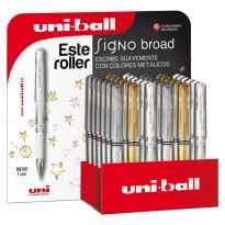 UNIBALL EXPOSITOR ROLLERBALL SIGNO BROAD UM-153 G/S/W 3D PLATA-ORO-BLANCO -36U-