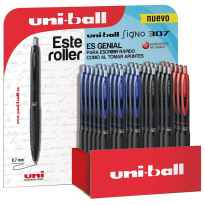 UNIBALL EXPOSITOR ROLLERBALL SIGNO 307/3D RETRACTIL ROJO-NEGRO-AZUL -36U-